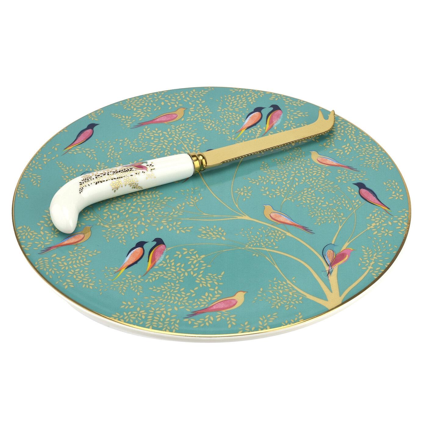 포트메리온 '사라 밀러 런던' 치즈 접시 앤 나이프 Sara Miller London for Portmeirion Chelsea Collection Cheese Plate with Knife
