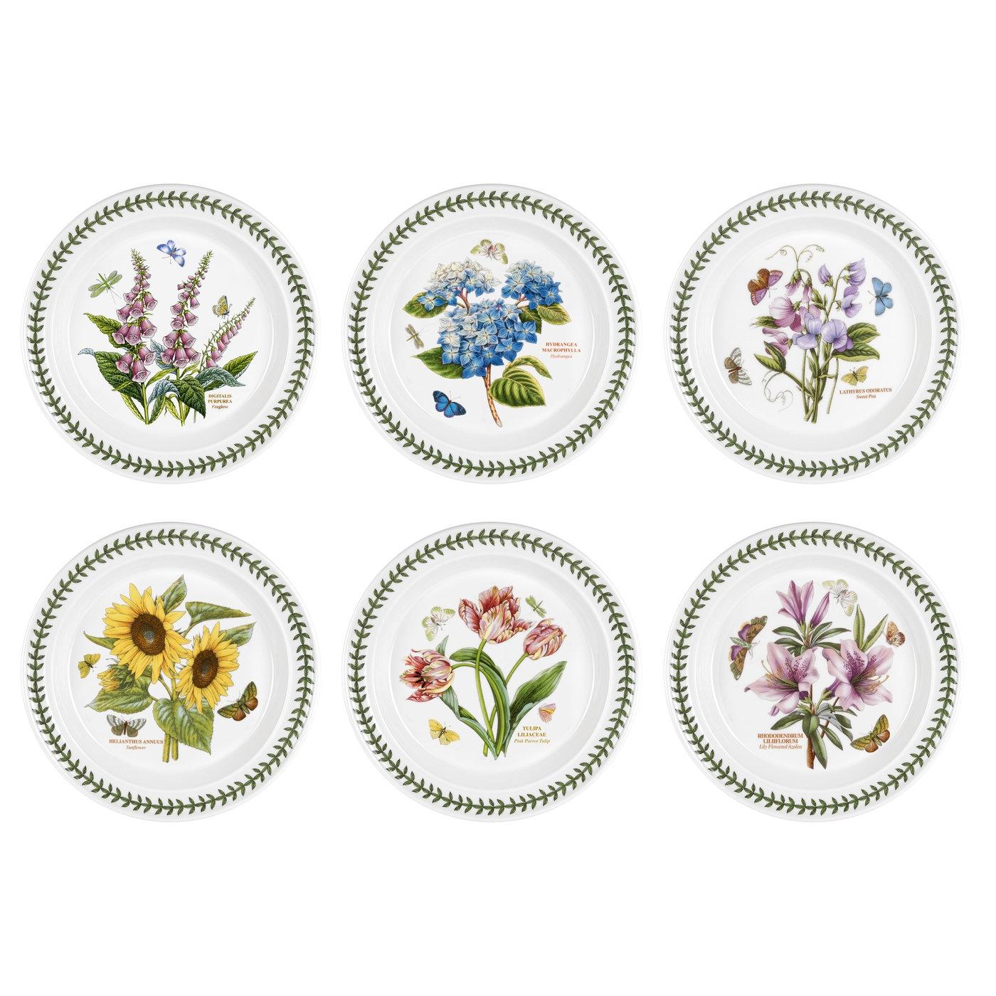 Portmeirion Botanic Garden Set of 9 Dinner Plates Assorted Motifs