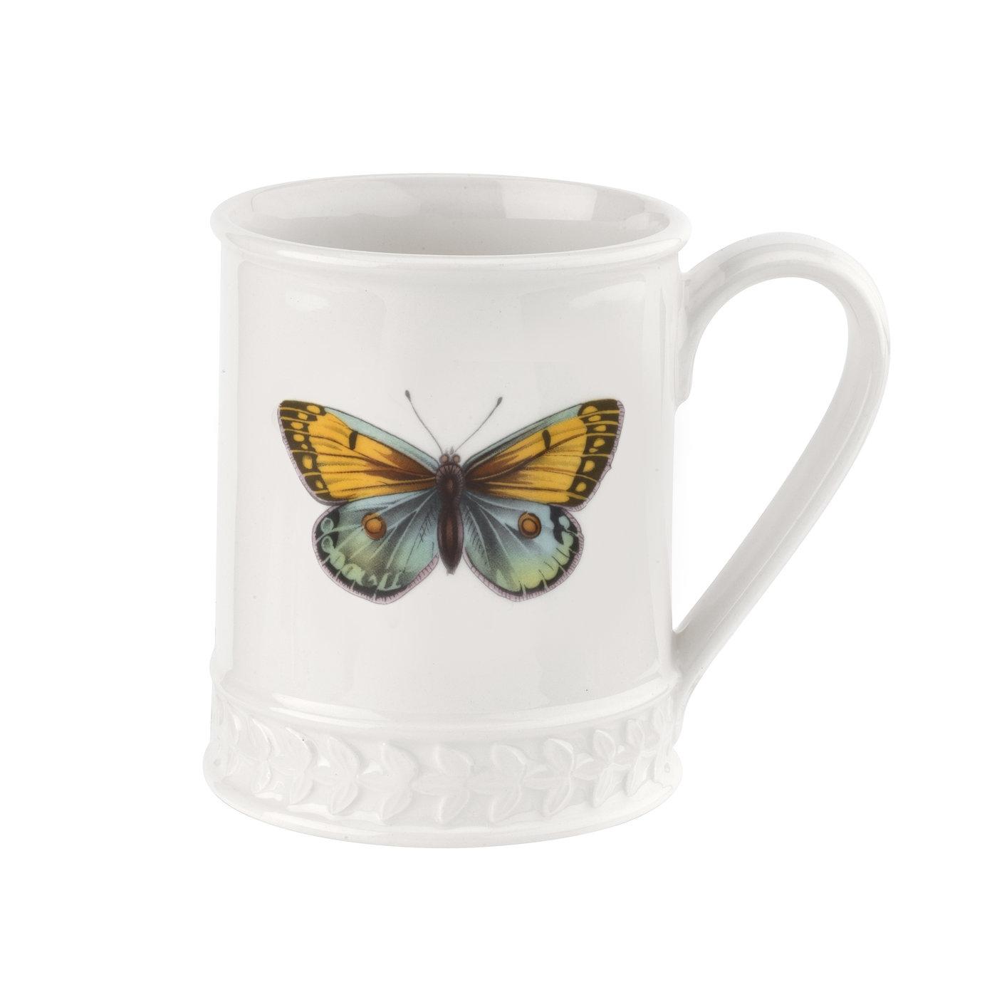포트메리온 '보타닉 가든 하모니' 나비 머그Portmeirion Botanic Garden Harmony Embossed 16 oz Tankard-Amber Blue Butterfly