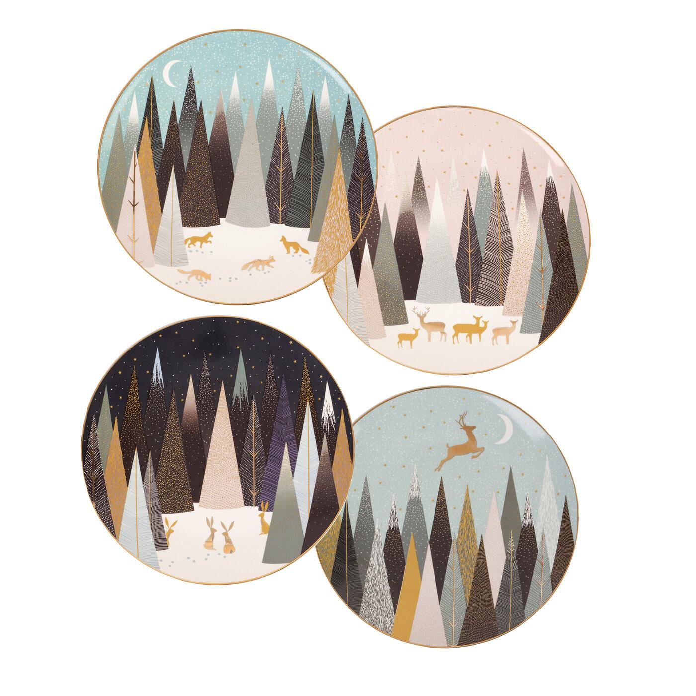 포트메리온 '사라 밀러 런던 프로스티드 파인즈' 디저트 접시 4개 세트 Sara Miller London for Portmeirion Frosted Pines Dessert Plates Set of 4