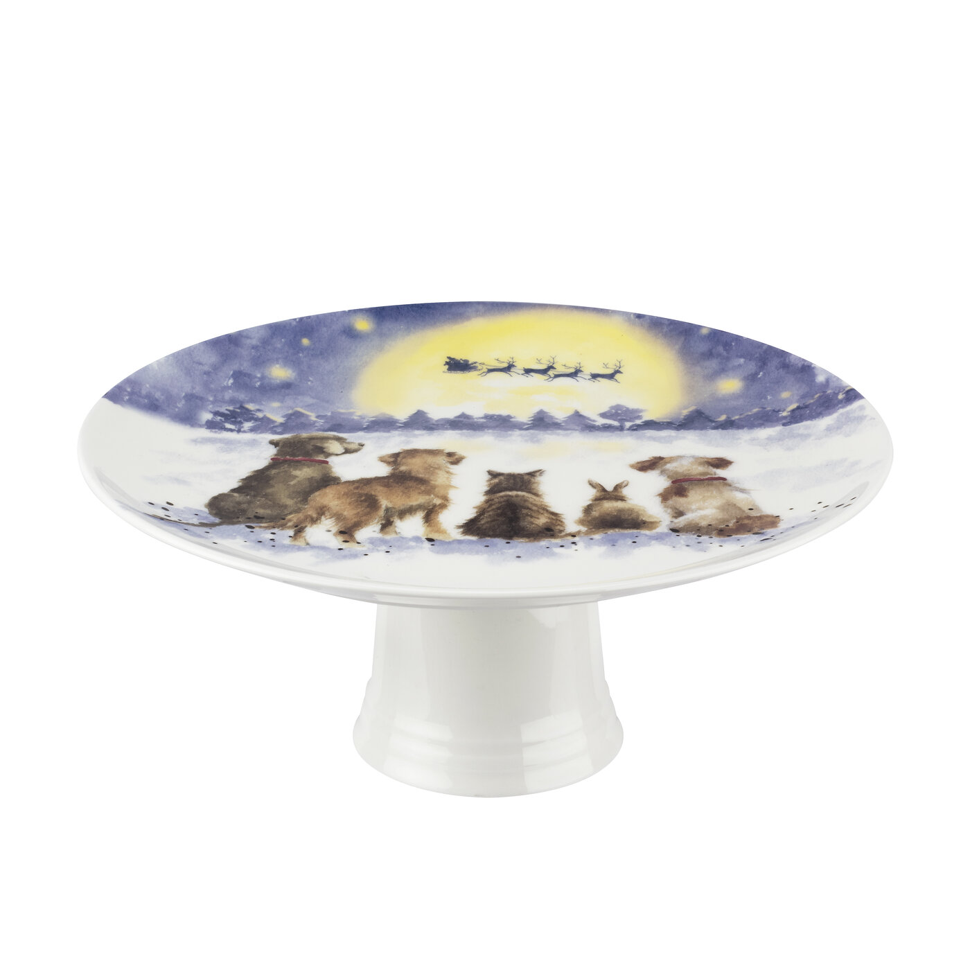 Royal Worcester Wrendale Designs 9.75 Inch Footed Cake Plate (The Magic of Christmas) image number 0