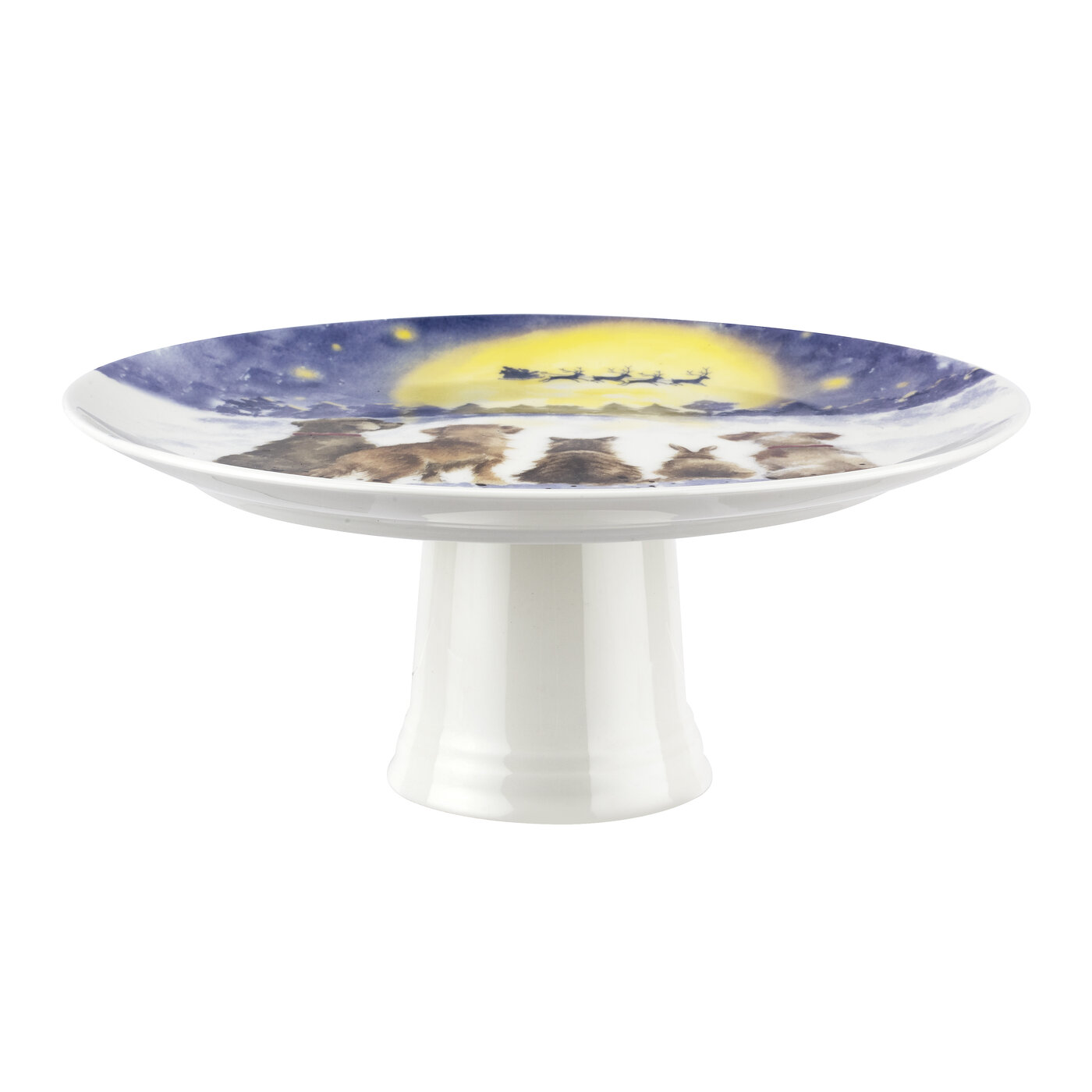 Royal Worcester Wrendale Designs 9.75 Inch Footed Cake Plate (The Magic of Christmas) image number 2