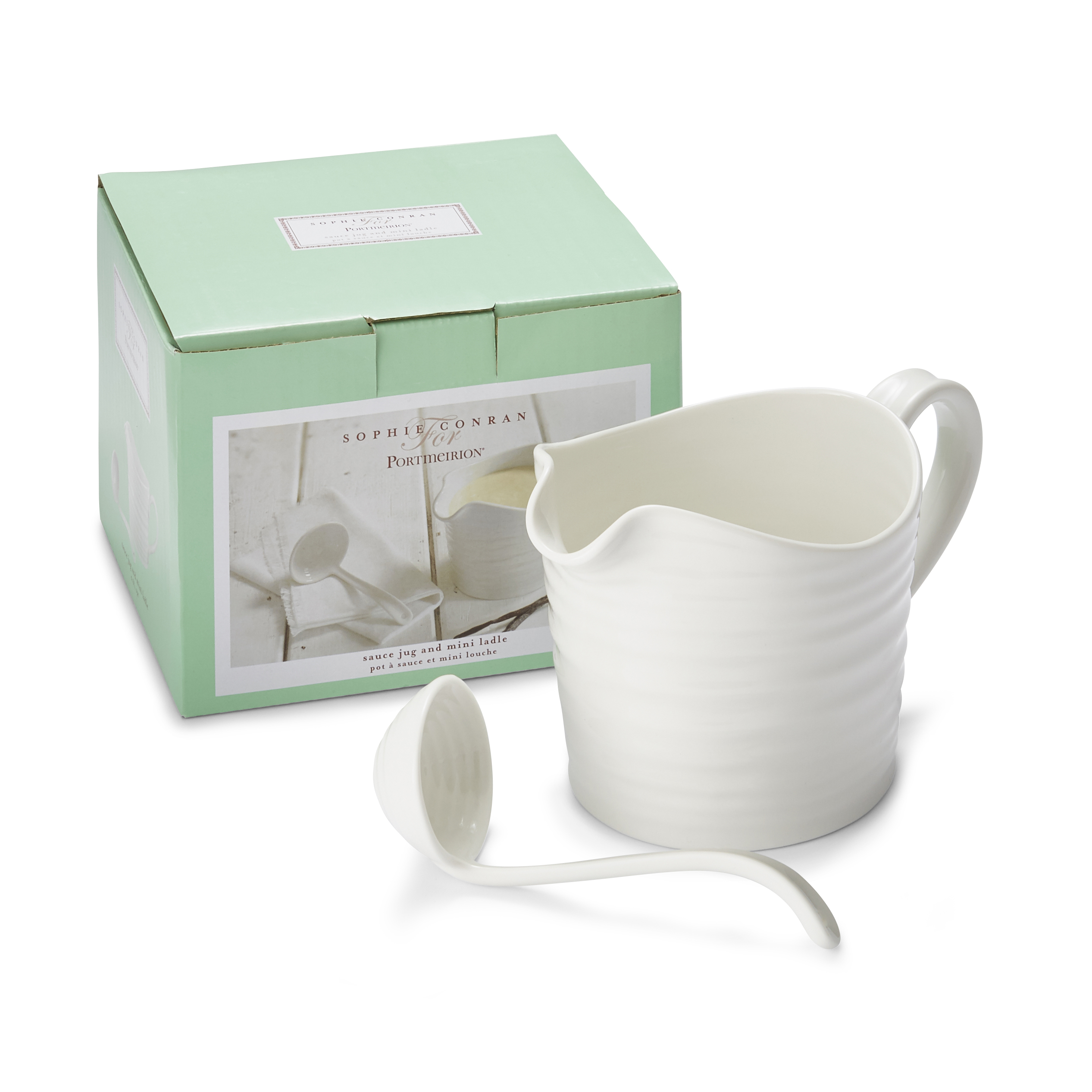 633094 Portmeirion Sophie Conran White Mini Sauce Jug and Ladle Set