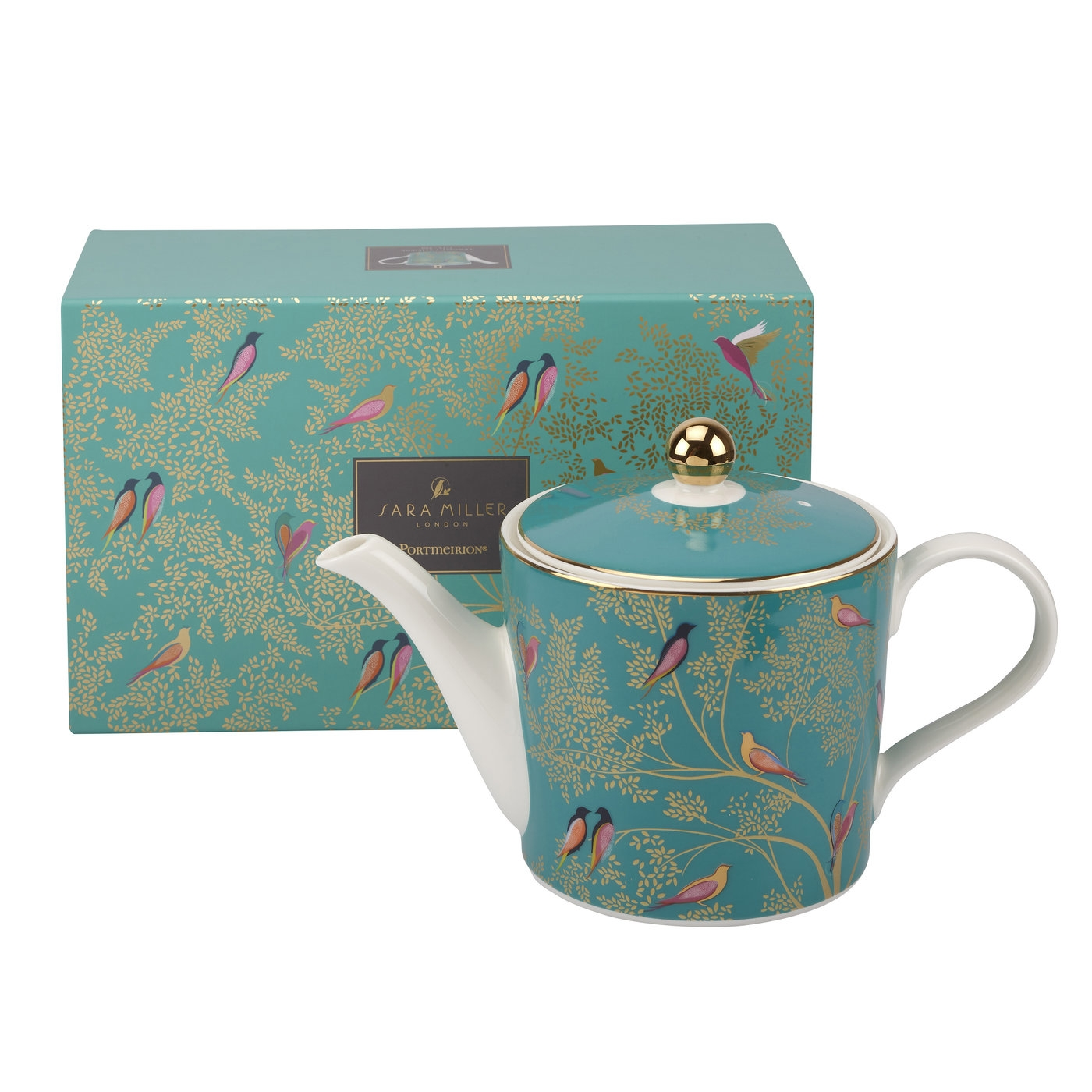 Sara Miller London for Portmeirion Chelsea Collection 2 Pint Teapot Green image number 0