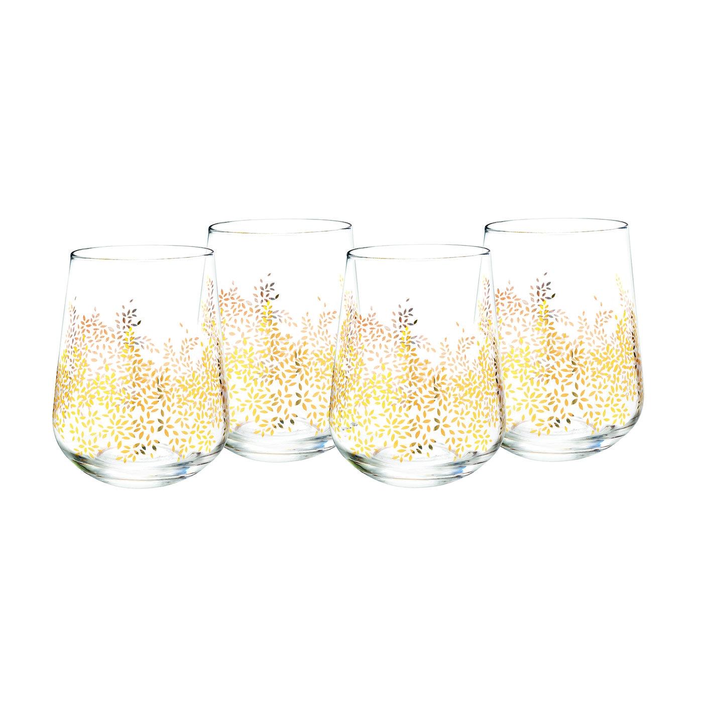 포트메리온 '사라 밀러 런던' 와인잔 4개 세트 Sara Miller London for Portmeirion Stemless Wine Glass Set of 4