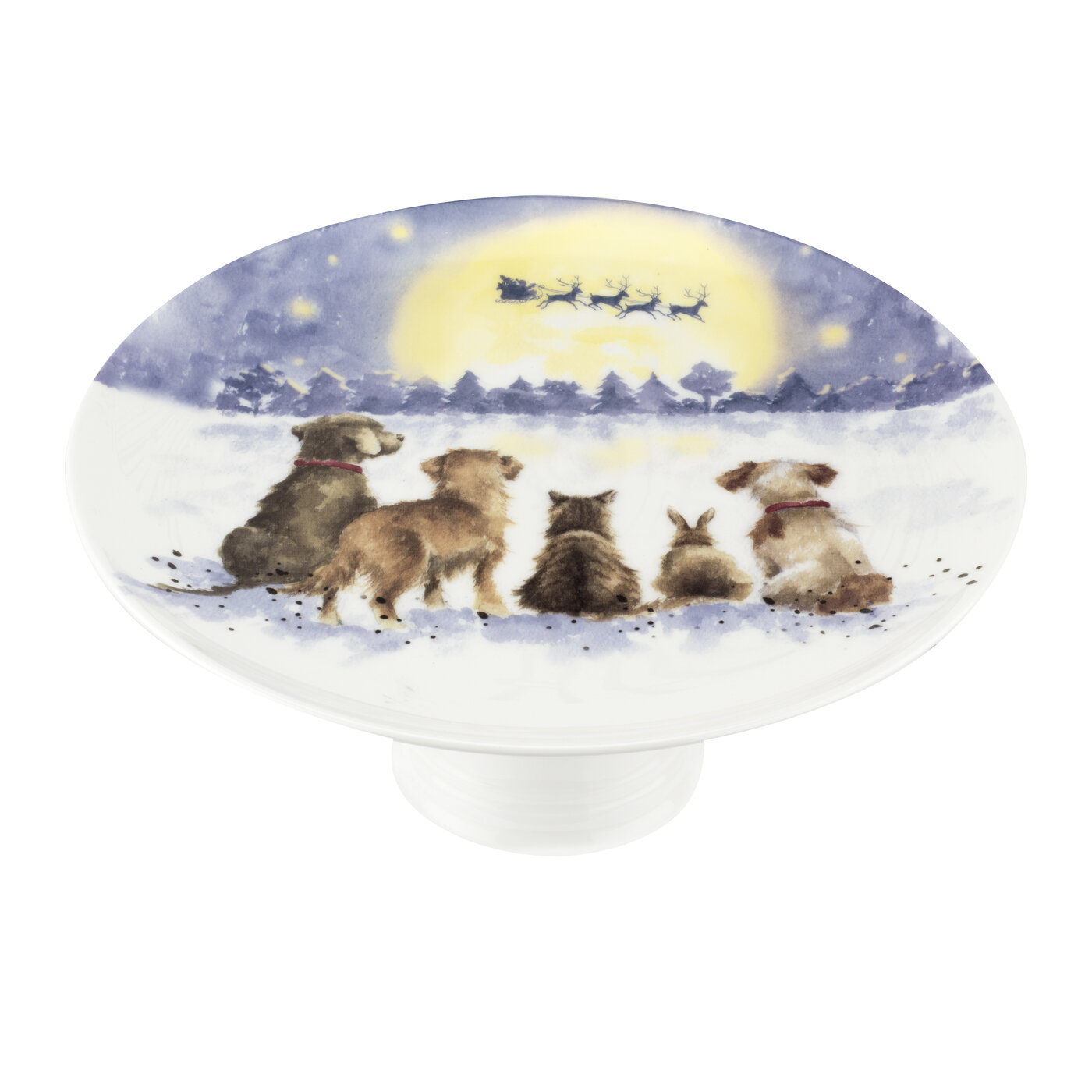 Royal Worcester Wrendale Designs 9.75 Inch Footed Cake Plate (The Magic of Christmas) image number 1