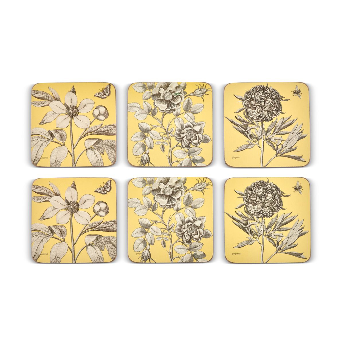 Pimpernel Sanderson Etchings and Roses Yellow Coasters Set of 6 image number 2