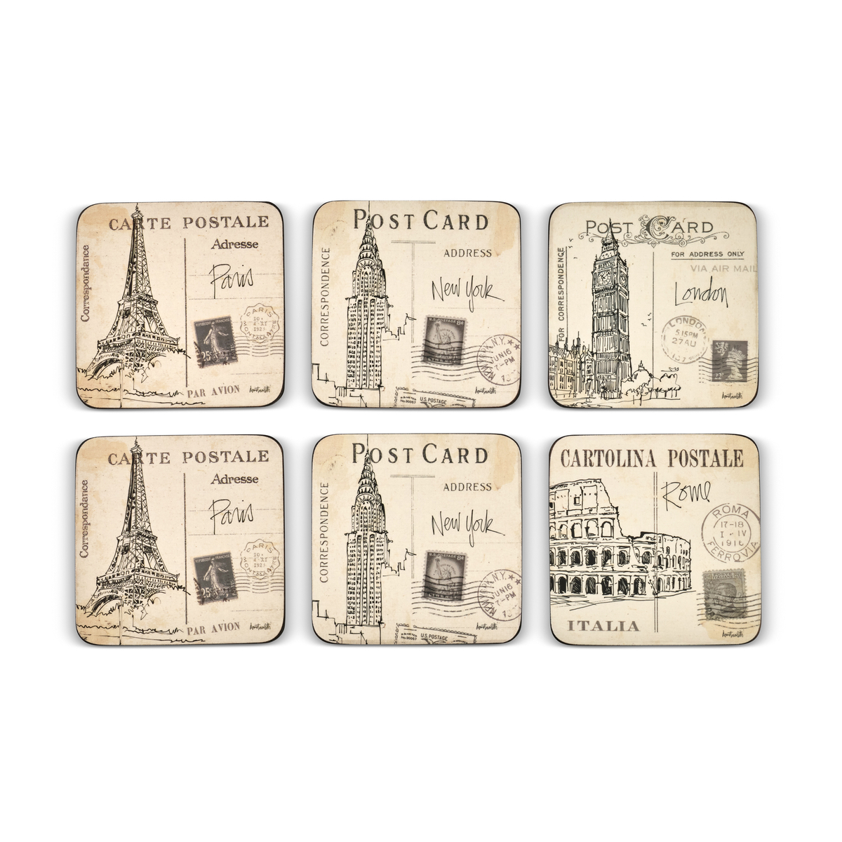 Pimpernel Postcard Sketches Coasters Set of 6 image number 2