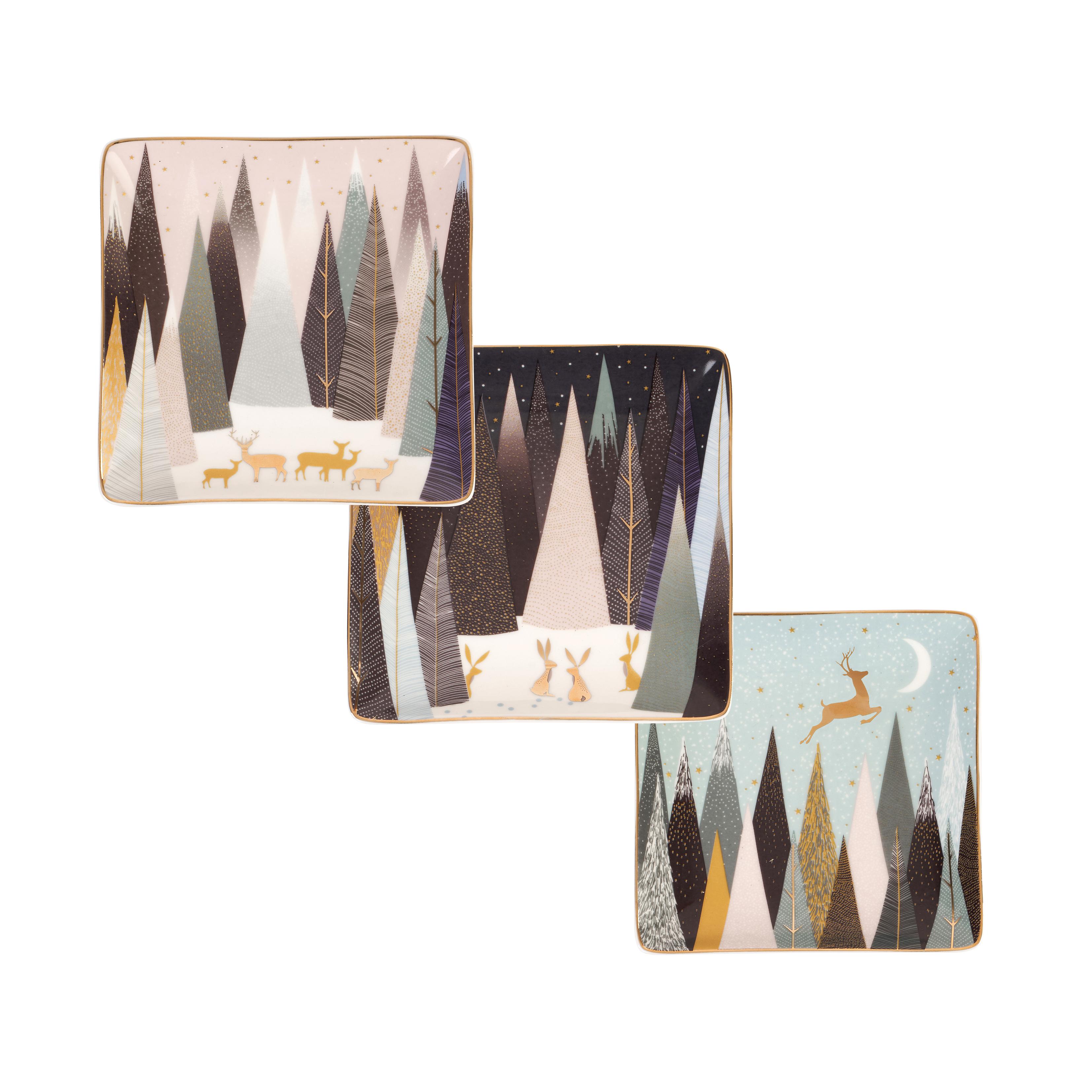 포트메리온 '사라 밀러 런던 프로스티드 파인즈' 사각 트레이 3개 세트 Sara Miller London for Portmeirion Frosted Pines Set of 3 Square Trays 4.5 Inch