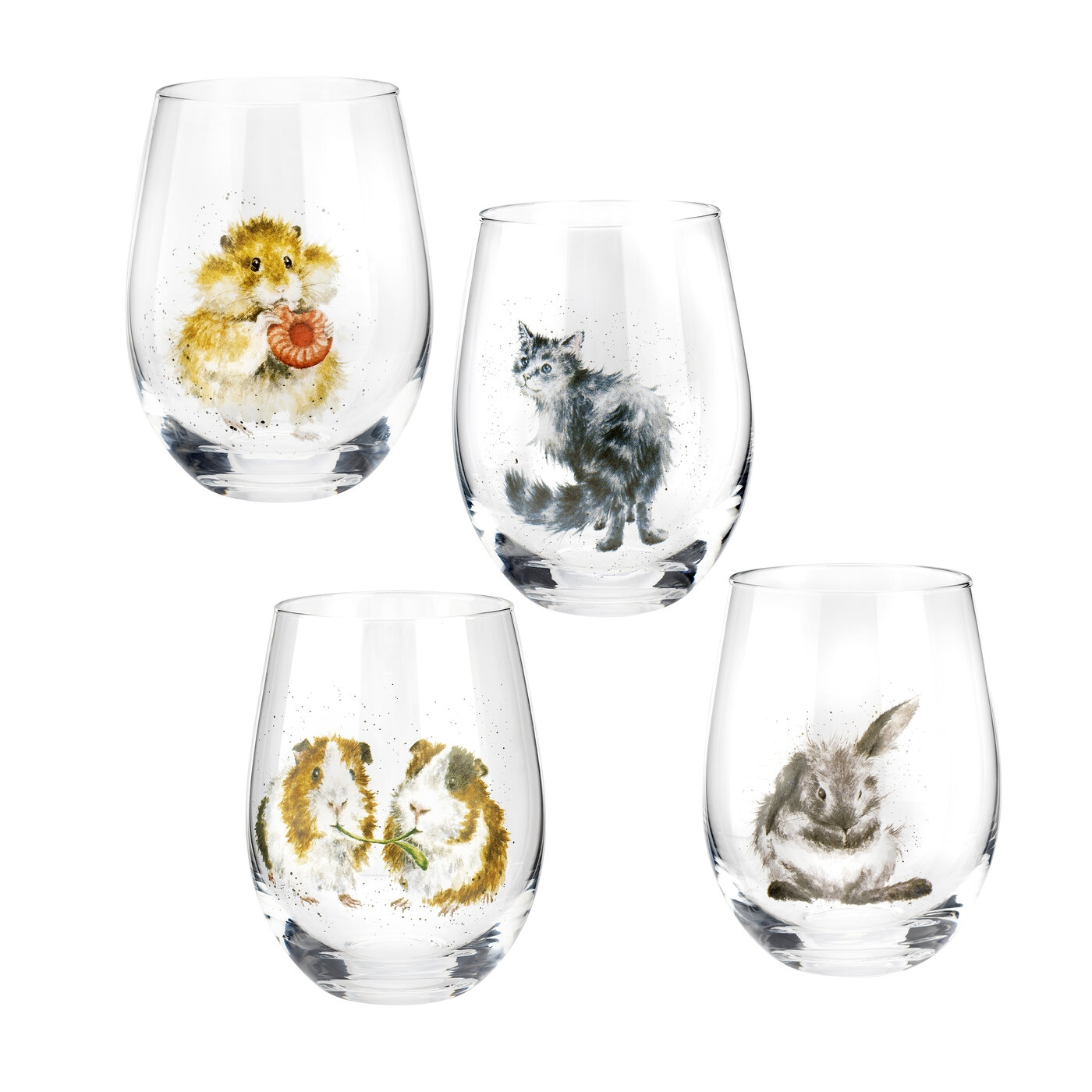 Wrendale Designs 17 Ounce Set of 4 Glass Tumblers (Assorted) image number 0
