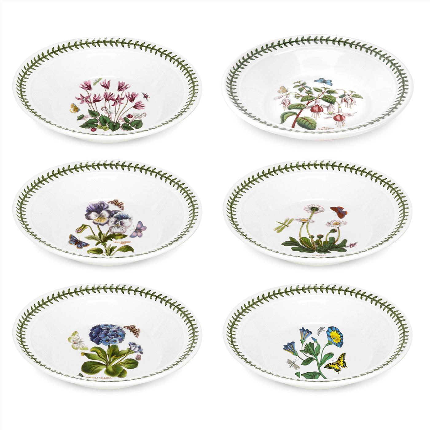 Portmeirion Botanic Garden Set of 9 Soup Plate/Bowls Assorted Motifs