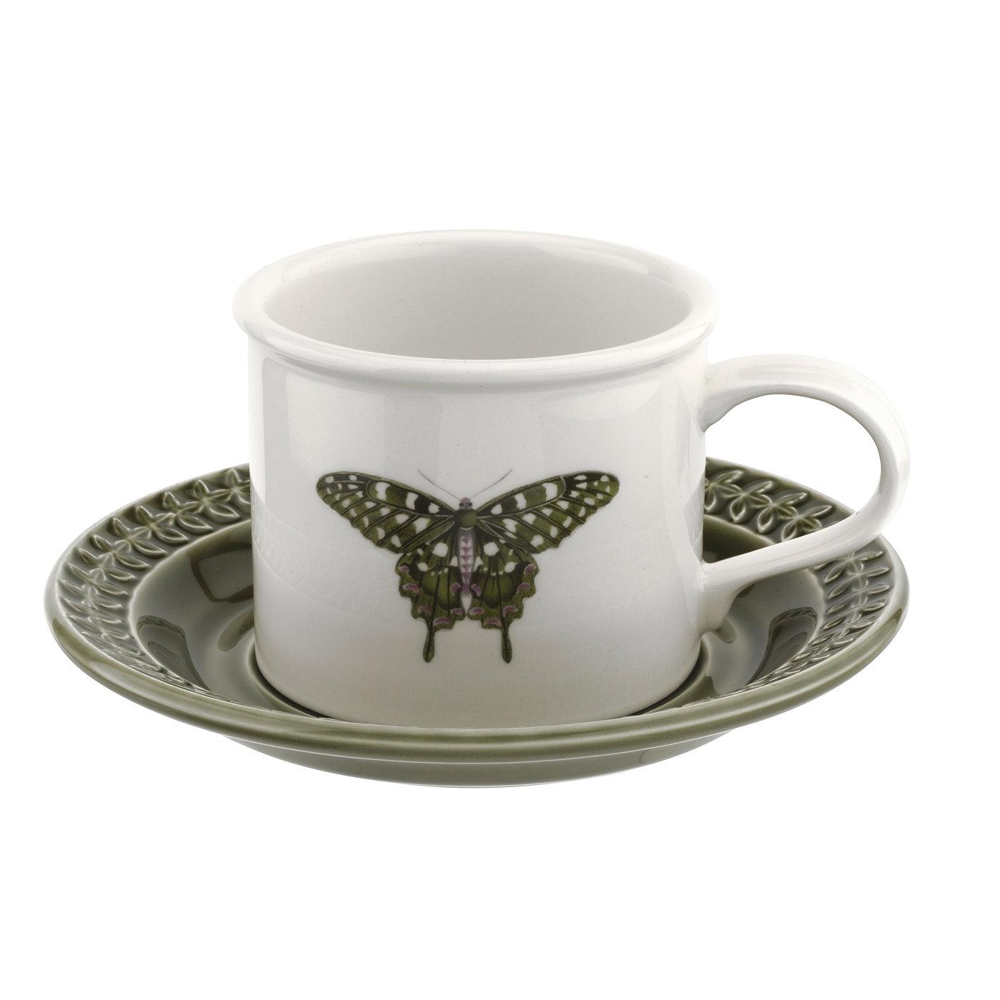 포트메리온 '보타닉 가든 하모니' BF머그 앤 컫받침 Portmeirion Botanic Garden Harmony Embossed Forest Green Breakfast Cup and Saucer