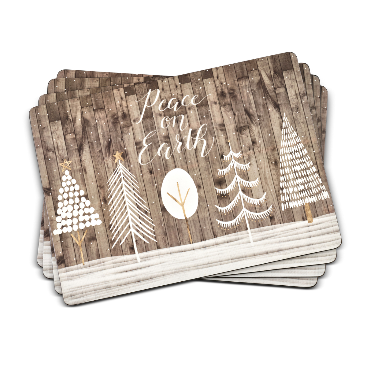 Pimpernel Wooden White Christmas Placemats Set of 4 image number 0