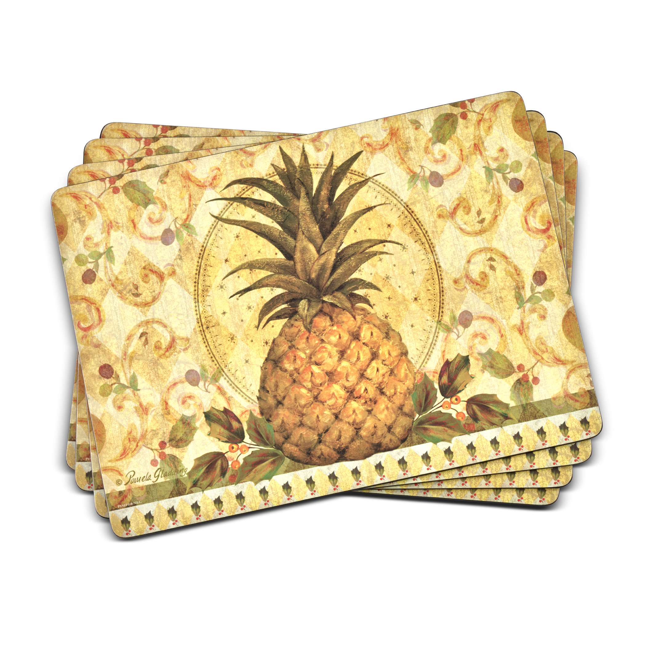 Pimpernel Golden Pineapple Placemats Set of 4 image number 0