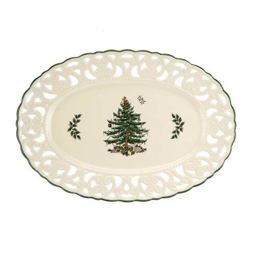 Spode Christmas Tree Pierced Oval 14 Inch Dish image number 0