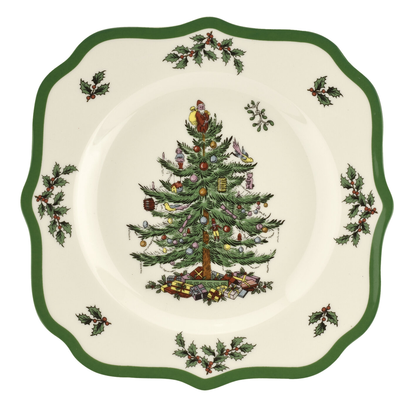 Spode Christmas Tree 9 Inch Scalloped Salad Plate image number 0
