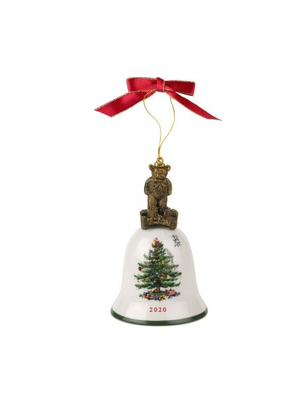 Spode Christmas Tree Teddy Bear Annual Bell Ornament 2020 image number 0