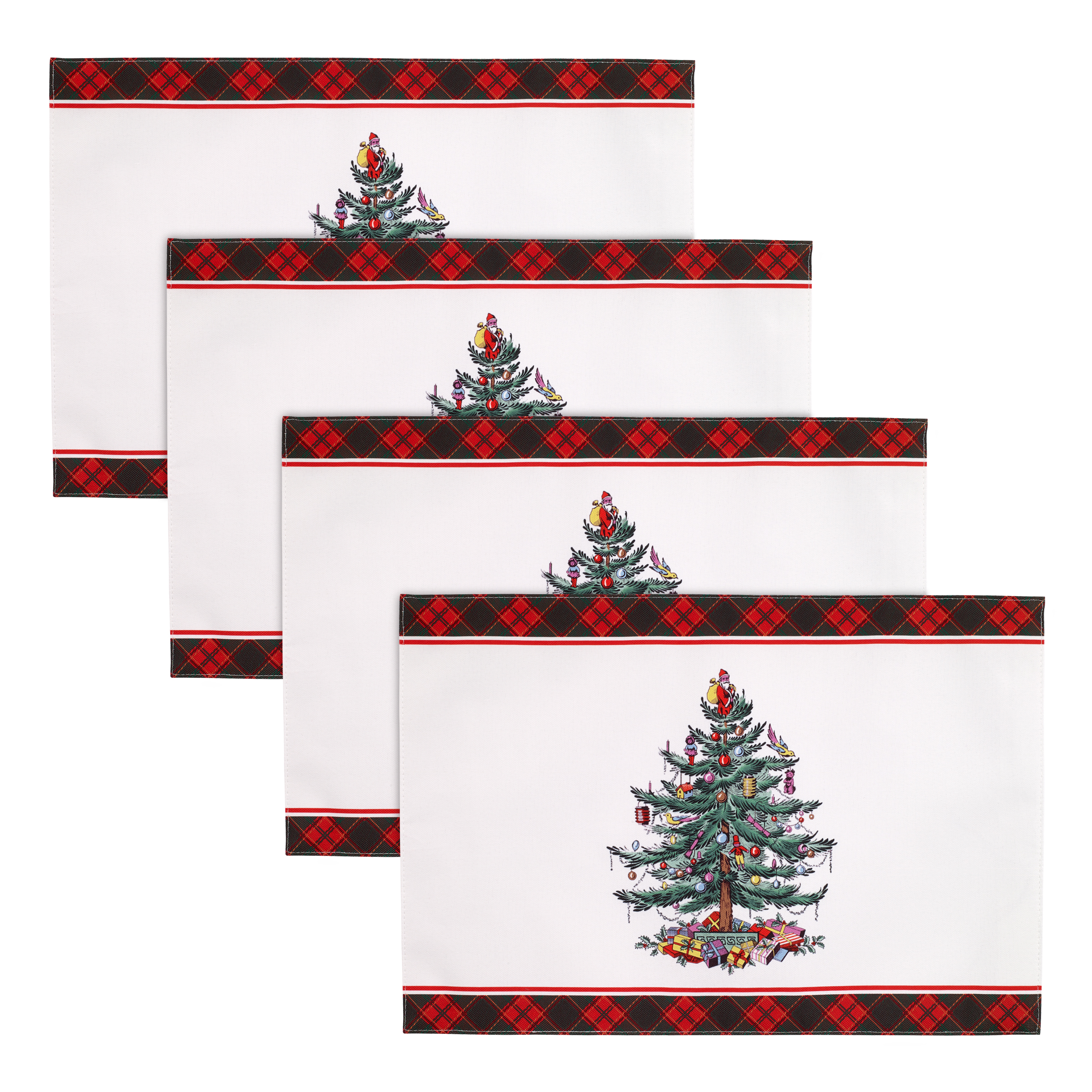 Spode Christmas Tree Tartan Set of 4 Placemats image number 0