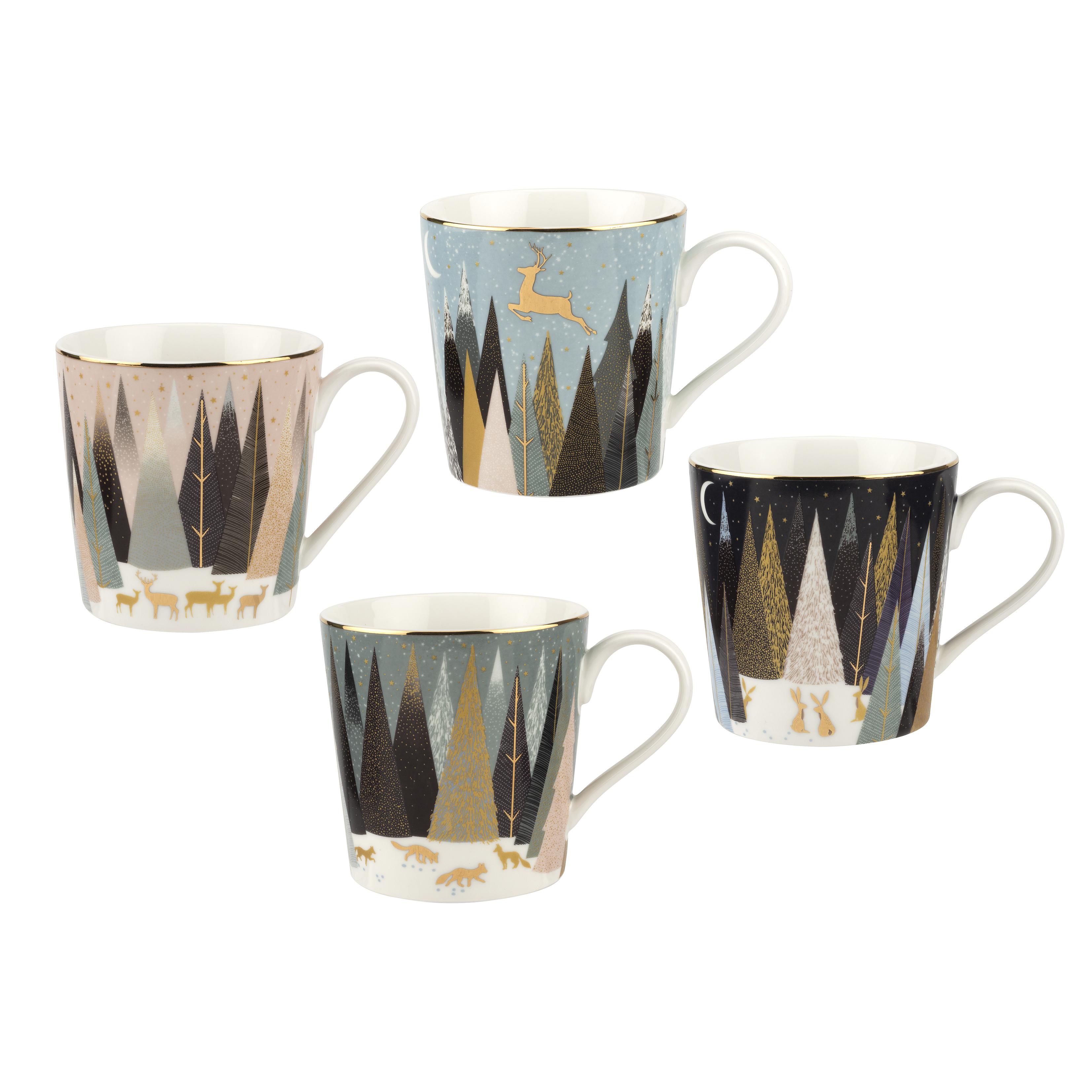 포트메리온 '사라 밀러 런던 프로스티드 파인즈' 머그 4개 세트 Sara Miller London for Portmeirion Frosted Pines Set of 4 Mugs 12 oz