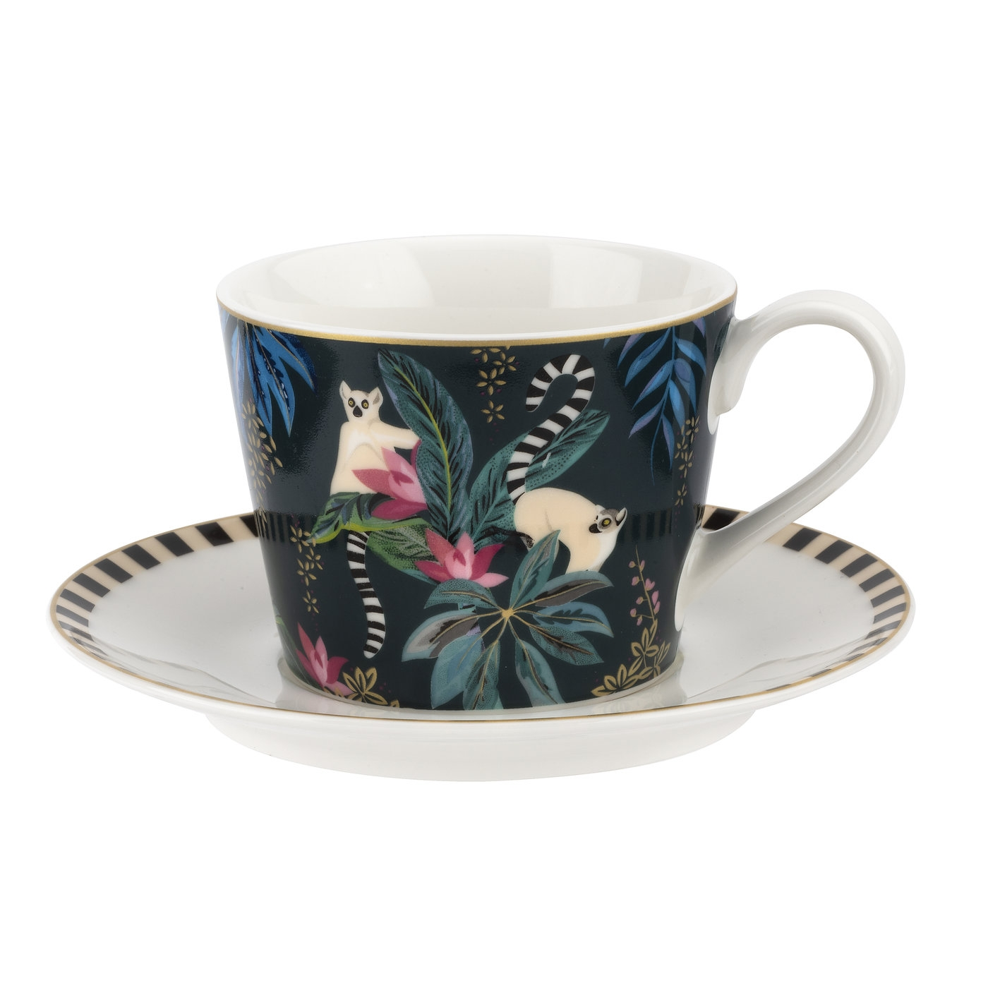 Sara Miller London Tahiti Teacup and Saucer (Lemur) image number 0
