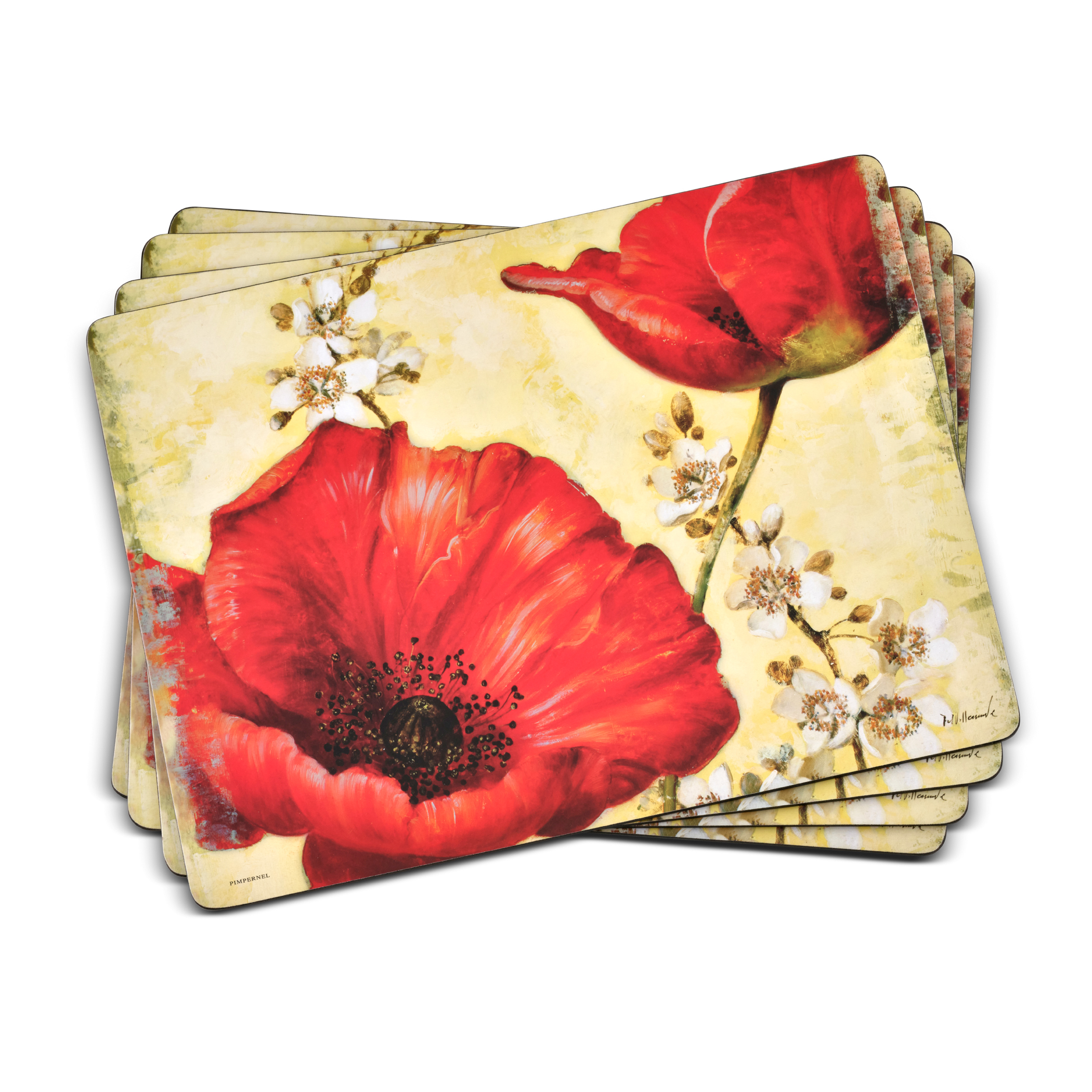 Pimpernel Poppy de Villeneuve Placemats Set of 4 image number 0