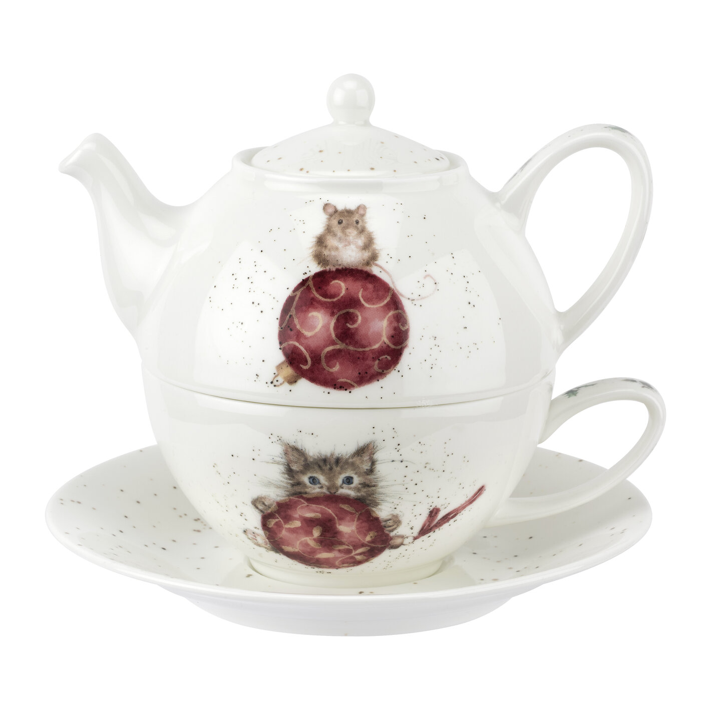 Royal Worcester Wrendale Designs Tea For One with Saucer (Kitten & Mouse) image number 0