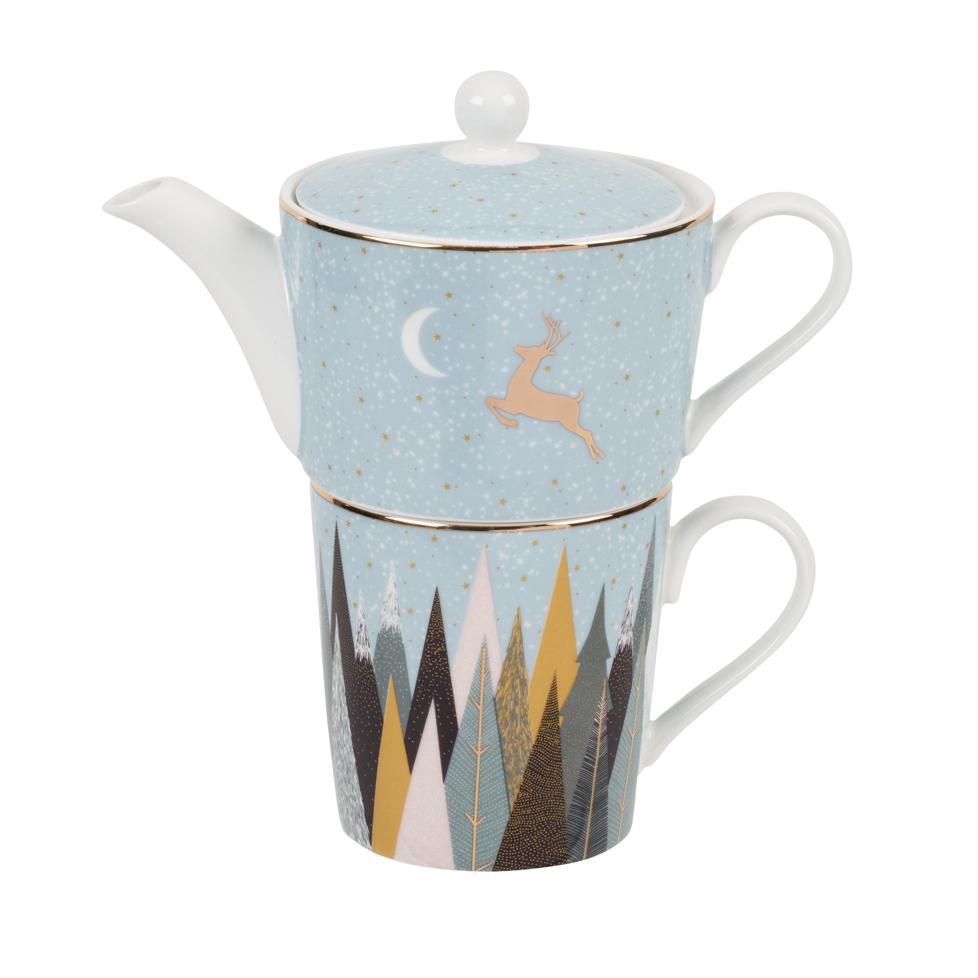 포트메리온 '사라 밀러 런던 프로스티드 파인즈' 티포원 머그 Sara Miller London for Portmeirion Frosted Pines Tea For One