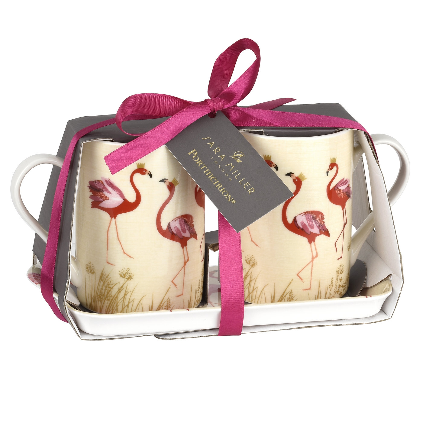 Sara Miller London for Pimpernel Flamingo 3 Piece Mug and Tray Set image number 1