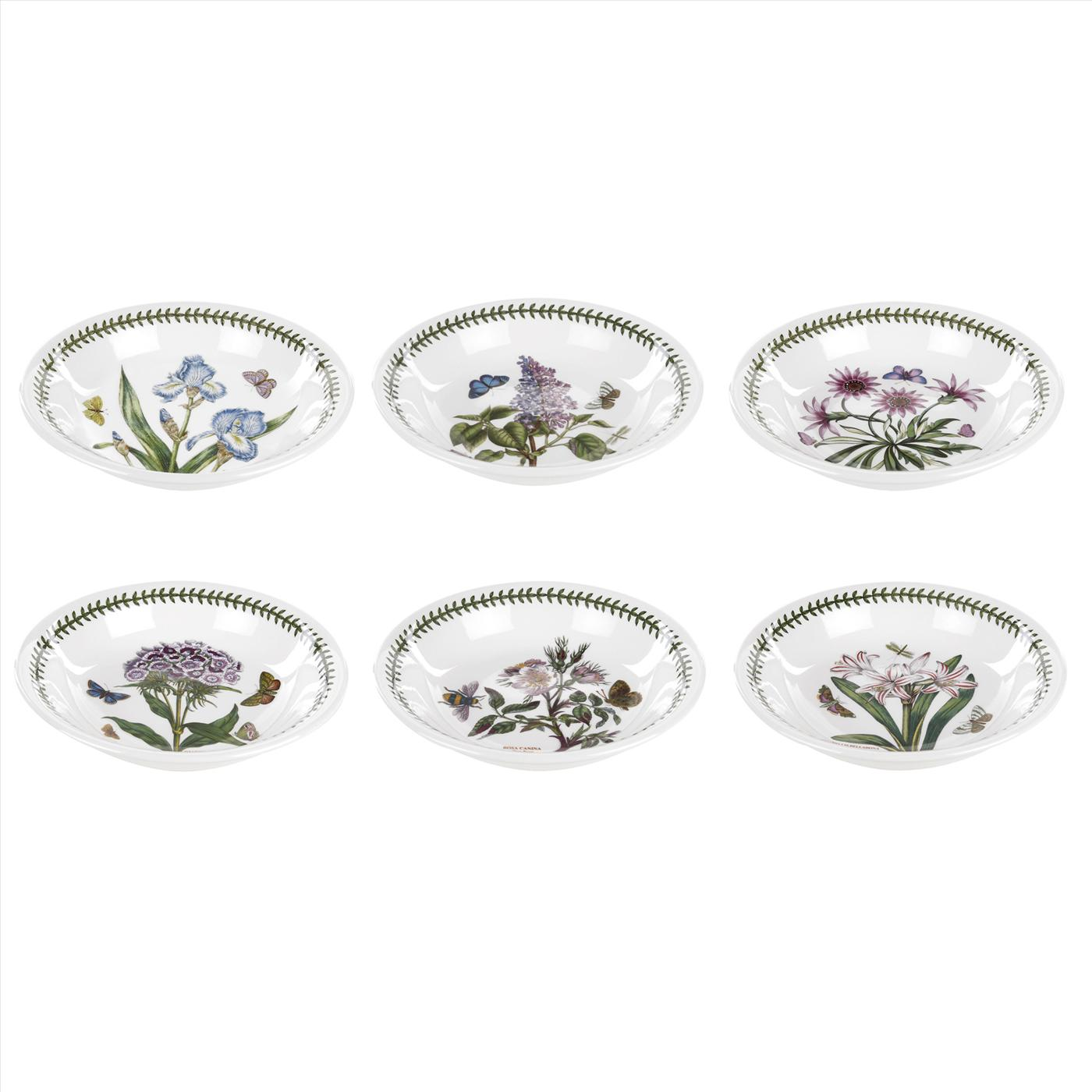 Portmeirion Botanic Garden Set of 6 Pasta/Low Bowls Assorted Motifs image number 0